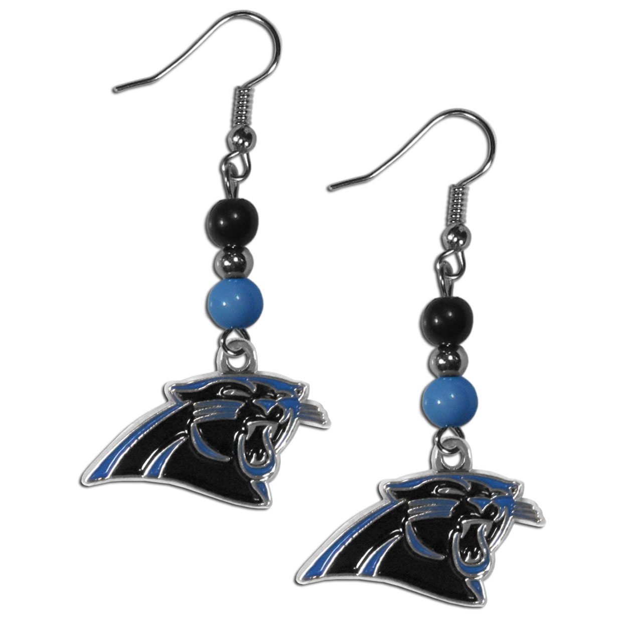 Carolina Panthers Fan Bead Dangle Earrings - Love your team, show it off with our Carolina Panthers bead dangle earrings! These super cute earrings hang approximately 2 inches and features 2 team colored beads and a high polish team charm. A must have for game day!