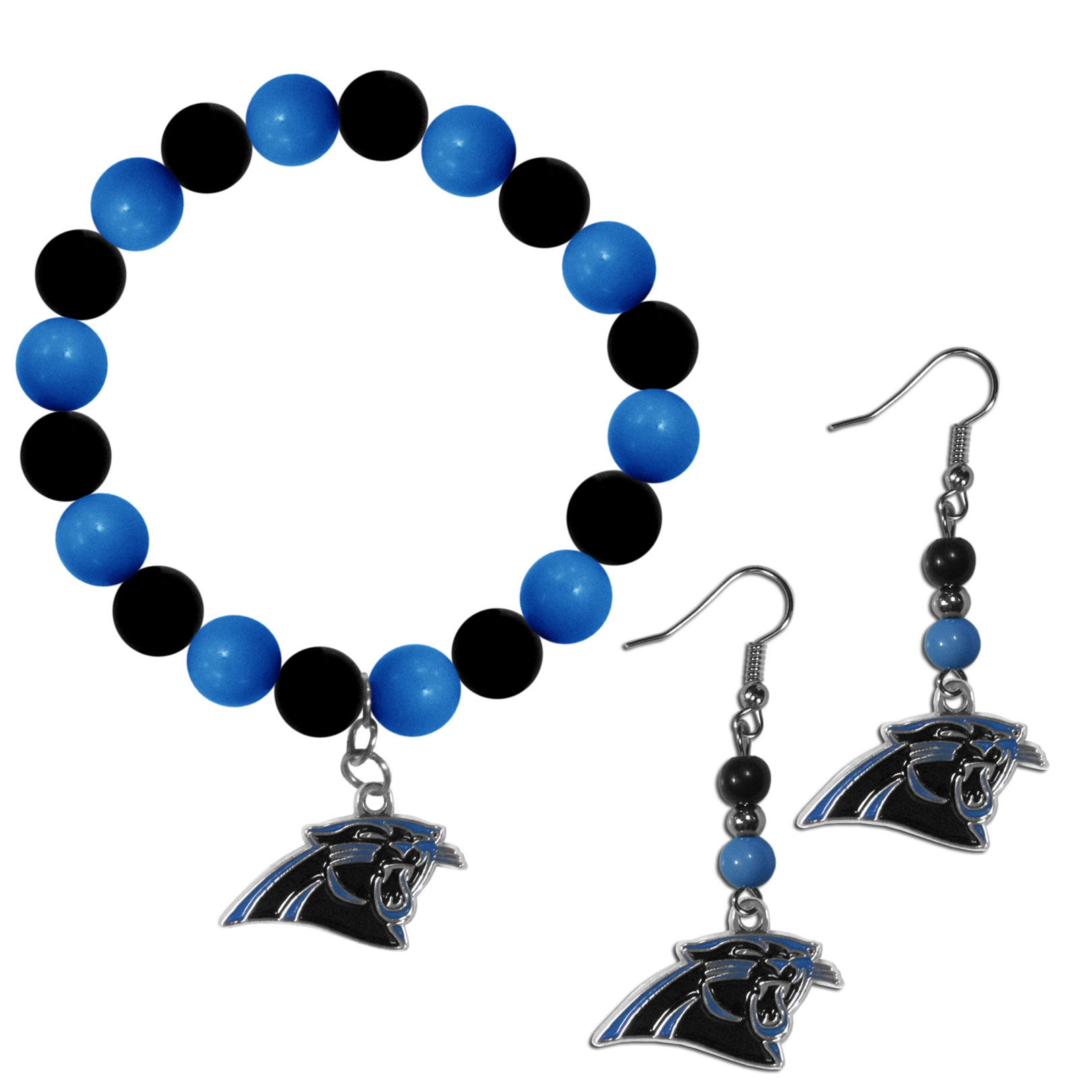 Carolina Panthers Fan Bead Earrings and Bracelet Set - This fun and colorful Carolina Panthers fan bead jewelry set is fun and casual with eye-catching beads in bright team colors. The fashionable dangle earrings feature a team colored beads that drop down to a carved and enameled charm. The stretch bracelet has larger matching beads that make a striking statement and have a matching team charm. These sassy yet sporty jewelry pieces make a perfect gift for any female fan. Spice up your game-day outfit with these fun colorful earrings and bracelet that are also cute enough for any day.