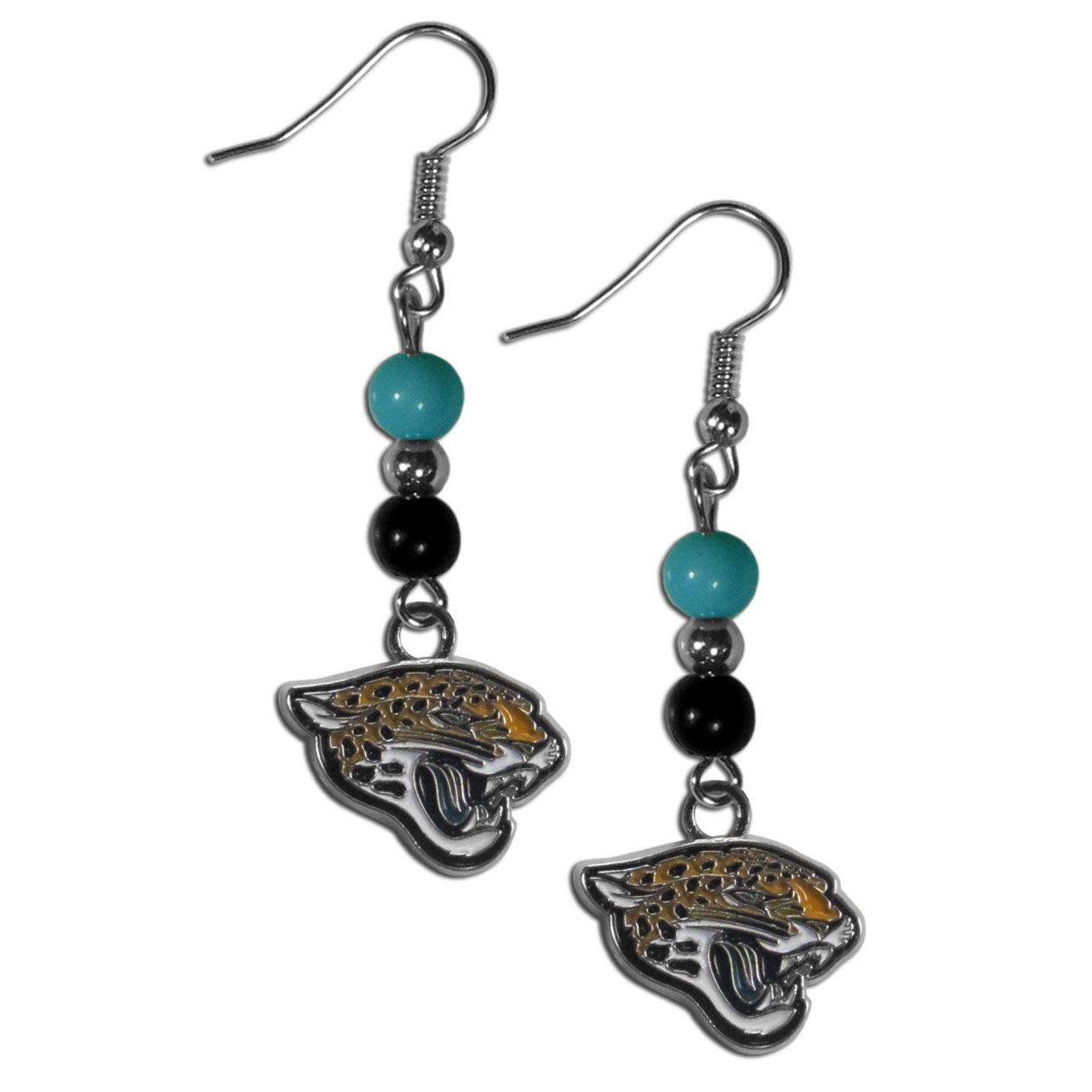 Jacksonville Jaguars Fan Bead Dangle Earrings - Love your team, show it off with our Jacksonville Jaguars bead dangle earrings! These super cute earrings hang approximately 2 inches and features 2 team colored beads and a high polish team charm. A must have for game day!