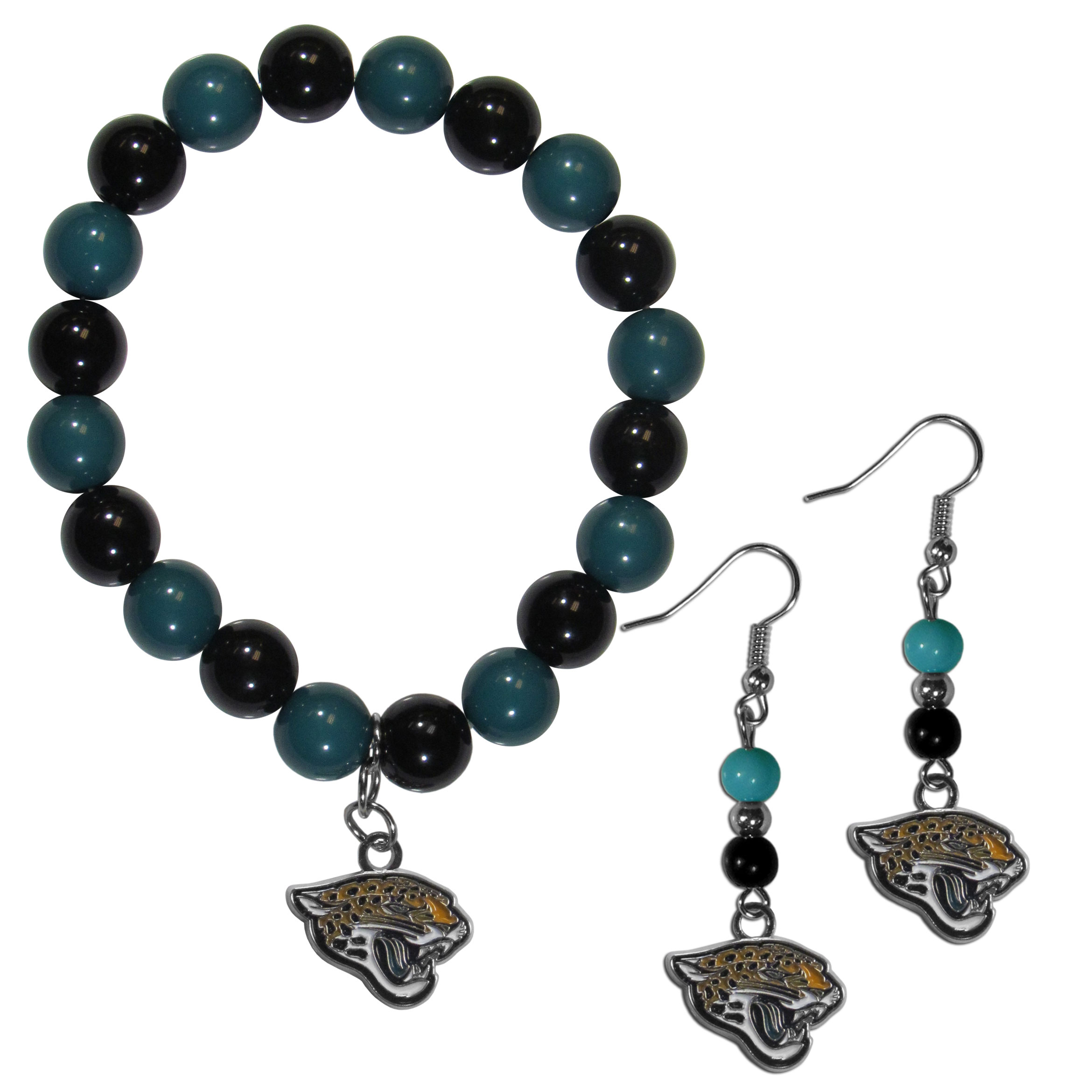 Jacksonville Jaguars Fan Bead Earrings and Bracelet Set - This fun and colorful Jacksonville Jaguars fan bead jewelry set is fun and casual with eye-catching beads in bright team colors. The fashionable dangle earrings feature a team colored beads that drop down to a carved and enameled charm. The stretch bracelet has larger matching beads that make a striking statement and have a matching team charm. These sassy yet sporty jewelry pieces make a perfect gift for any female fan. Spice up your game-day outfit with these fun colorful earrings and bracelet that are also cute enough for any day.