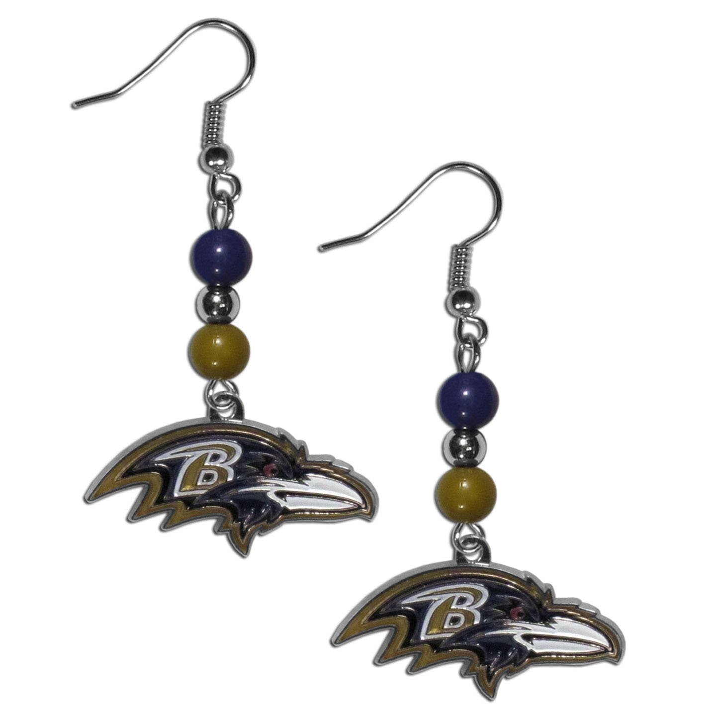 Baltimore Ravens Fan Bead Dangle Earrings - Love your team, show it off with our Baltimore Ravens bead dangle earrings! These super cute earrings hang approximately 2 inches and features 2 team colored beads and a high polish team charm. A must have for game day!