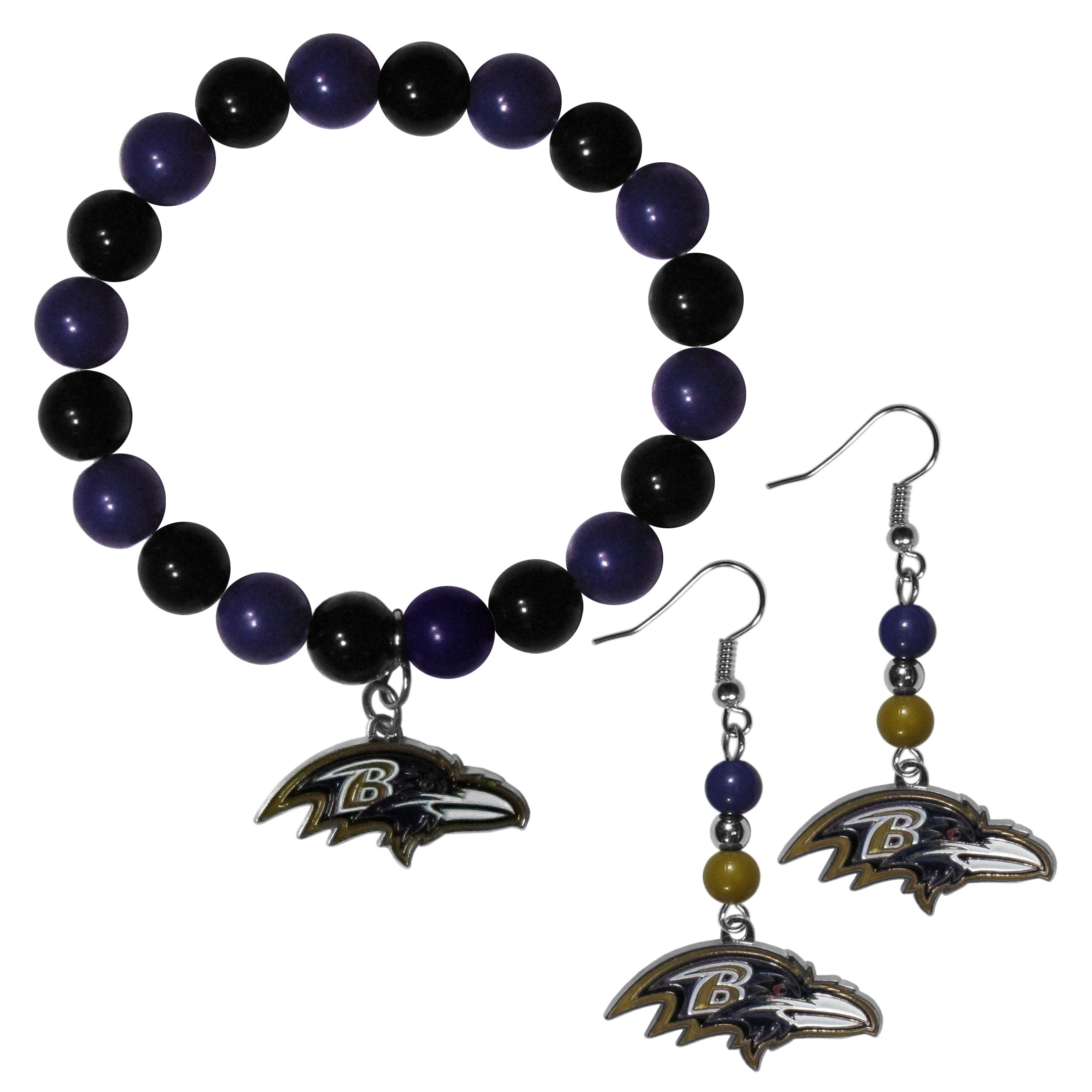 Baltimore Ravens Fan Bead Earrings and Bracelet Set - This fun and colorful Baltimore Ravens fan bead jewelry set is fun and casual with eye-catching beads in bright team colors. The fashionable dangle earrings feature a team colored beads that drop down to a carved and enameled charm. The stretch bracelet has larger matching beads that make a striking statement and have a matching team charm. These sassy yet sporty jewelry pieces make a perfect gift for any female fan. Spice up your game-day outfit with these fun colorful earrings and bracelet that are also cute enough for any day.
