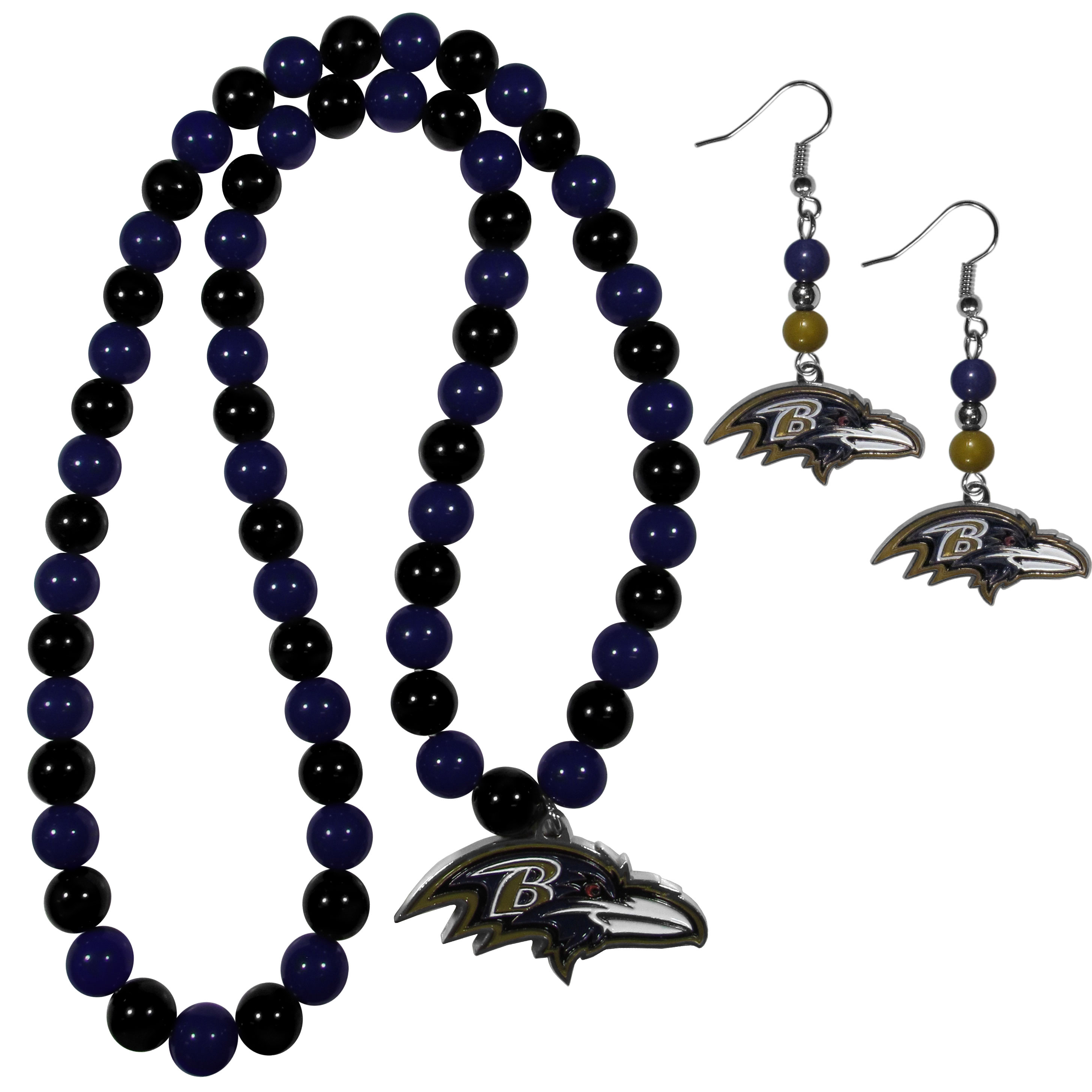 Baltimore Ravens Fan Bead Earrings and Necklace Set - These fun and colorful Baltimore Ravens fan bead jewelry pieces are an eyecatching way to show off your team spirit. The earrings feature hypoallergenic, nickel free fishhook post and 2 team colored beads with a beautifully carved team charm to finish this attractive dangle look. The mathcing bracelet has alternating team colored beads on a stretch cord and features a matching team charm.