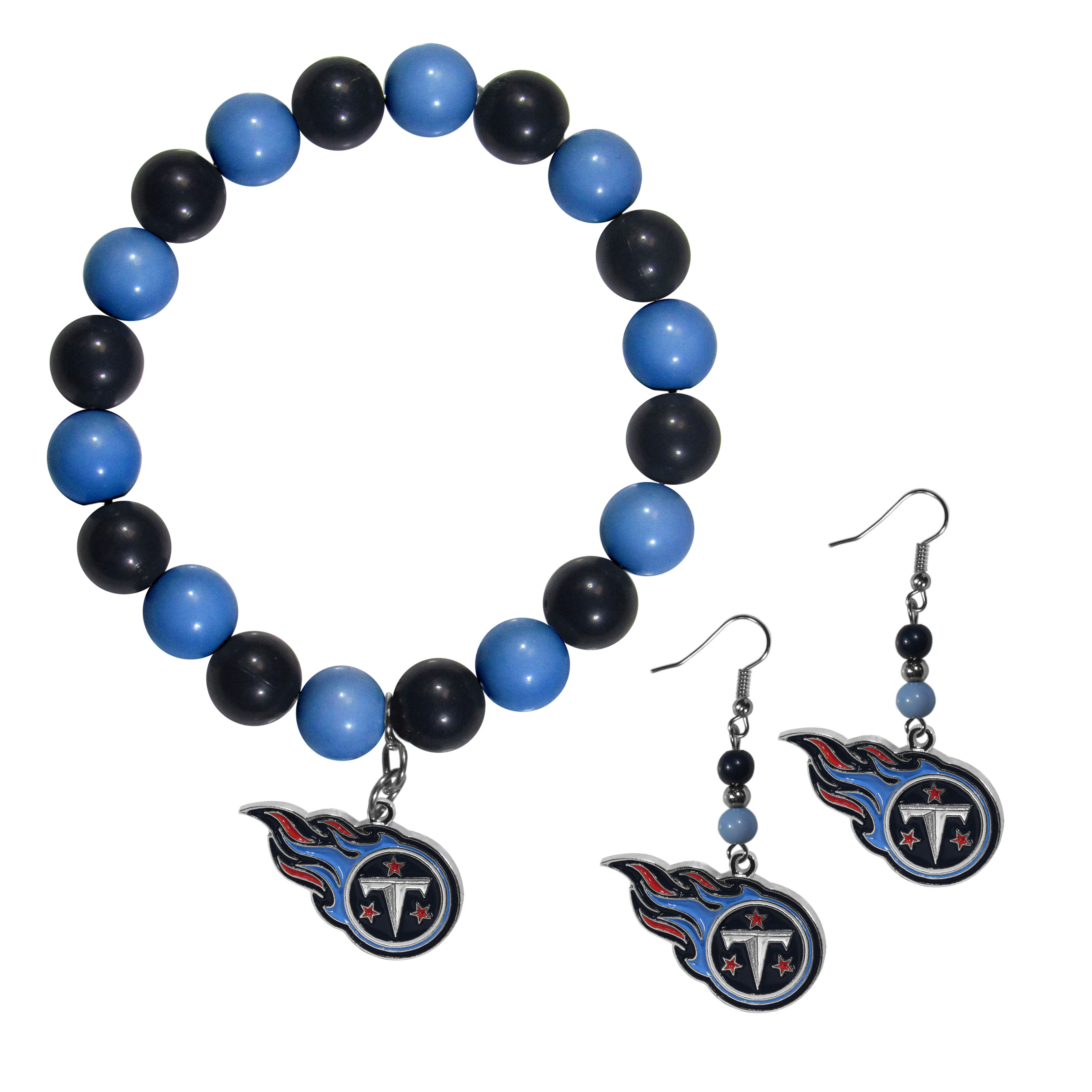 Tennessee Titans Fan Bead Earrings and Bracelet Set - This fun and colorful Tennessee Titans fan bead jewelry set is fun and casual with eye-catching beads in bright team colors. The fashionable dangle earrings feature a team colored beads that drop down to a carved and enameled charm. The stretch bracelet has larger matching beads that make a striking statement and have a matching team charm. These sassy yet sporty jewelry pieces make a perfect gift for any female fan. Spice up your game-day outfit with these fun colorful earrings and bracelet that are also cute enough for any day.