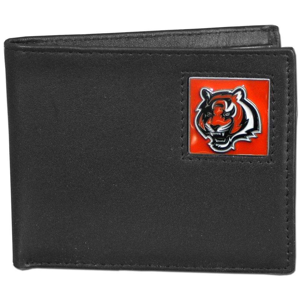 NFL Bifold Wallet in a Window Box - Cincinnati Bengals - Our Executive Bifolds are made of high quality fine grain leather with a sculpted NFL team emblem. Packaged in a  window box. Check out our entire line of  NFL merchandise! Officially licensed NFL product Licensee: Siskiyou Buckle .com