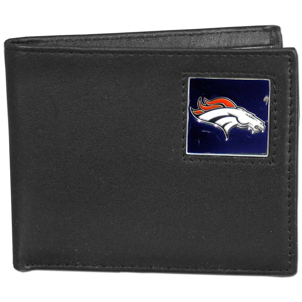 NFL Bifold Wallet in a Window Box - Denver Broncos - Our Executive Bifolds are made of high quality fine grain leather with a sculpted NFL team emblem. Packaged in a  window box. Check out our entire line of  NFL merchandise! Officially licensed NFL product Licensee: Siskiyou Buckle Thank you for visiting CrazedOutSports.com