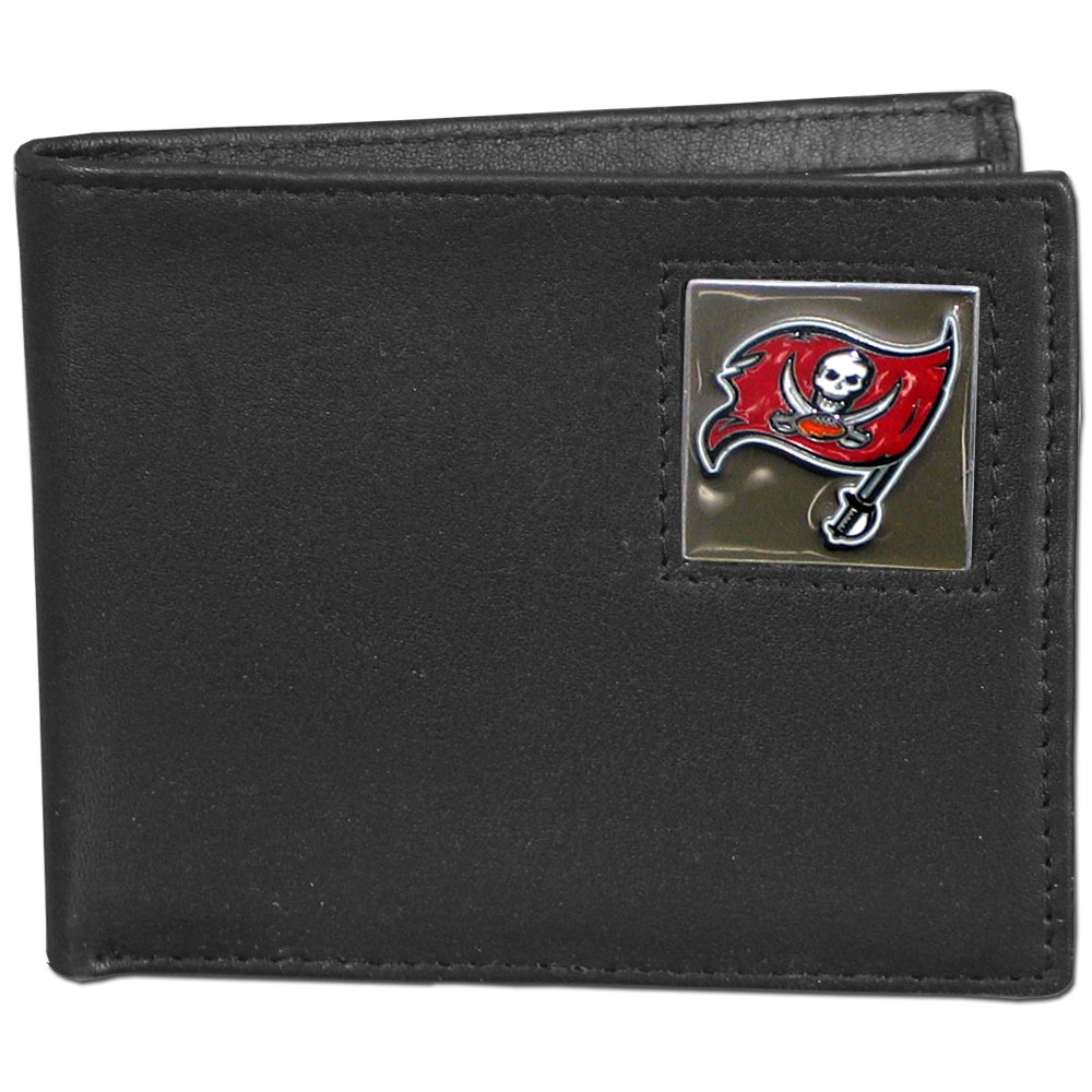 NFL Bifold Wallet - Tampa Bay Buccaneers - Our Executive Bifolds are made of high quality fine grain leather with a sculpted NFL team emblem. Packaged in a  window box. Check out our entire line of  NFL merchandise! Officially licensed NFL product Licensee: Siskiyou Buckle .com