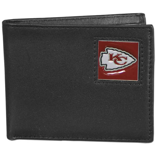 NFL Bifold Wallet in a Window Box - Kansas City Chiefs - Our Executive Bifolds are made of high quality fine grain leather with a sculpted NFL team emblem. Packaged in a  window box. Check out our entire line of  NFL merchandise! Officially licensed NFL product Licensee: Siskiyou Buckle Thank you for visiting CrazedOutSports.com