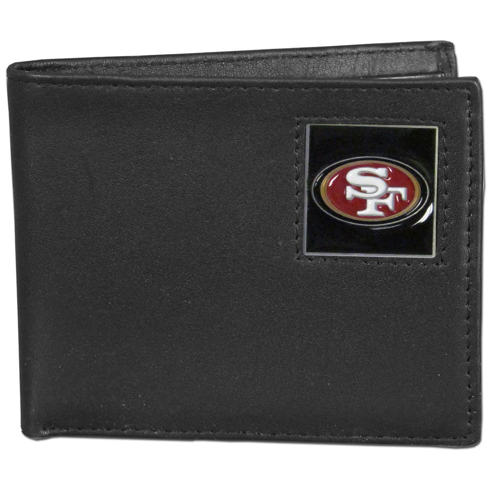 NFL Bifold Wallet in a Window Box - San Francisco 49ers - Our Executive Bifolds are made of high quality fine grain leather with a sculpted NFL team emblem. Packaged in a  window box. Check out our entire line of  NFL merchandise! Officially licensed NFL product Licensee: Siskiyou Buckle .com