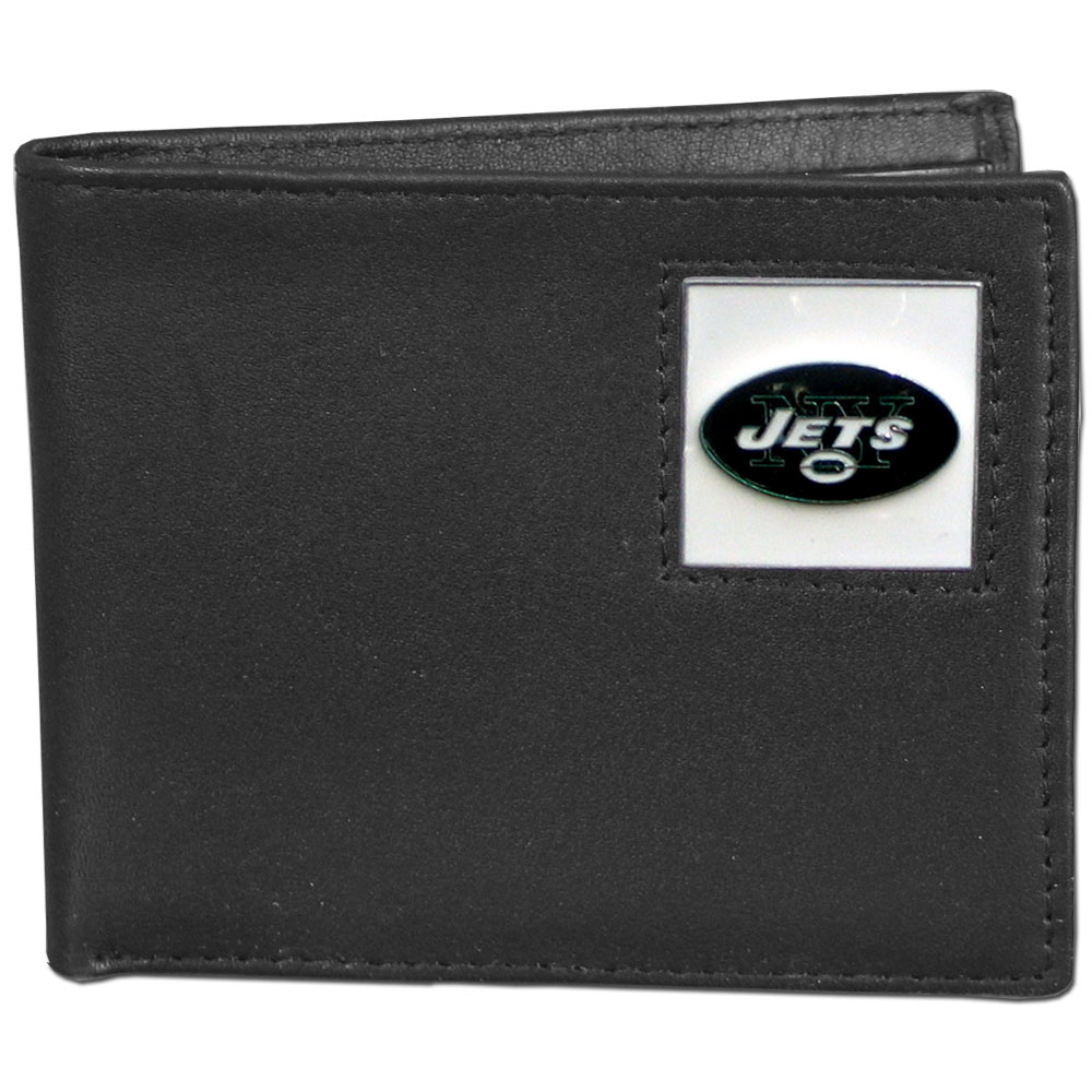 NFL Bifold Wallet in a Window Box - New York Jets - Our Executive Bifolds are made of high quality fine grain leather with a sculpted NFL team emblem. Packaged in a  window box. Check out our entire line of  NFL merchandise! Officially licensed NFL product Licensee: Siskiyou Buckle Thank you for visiting CrazedOutSports.com