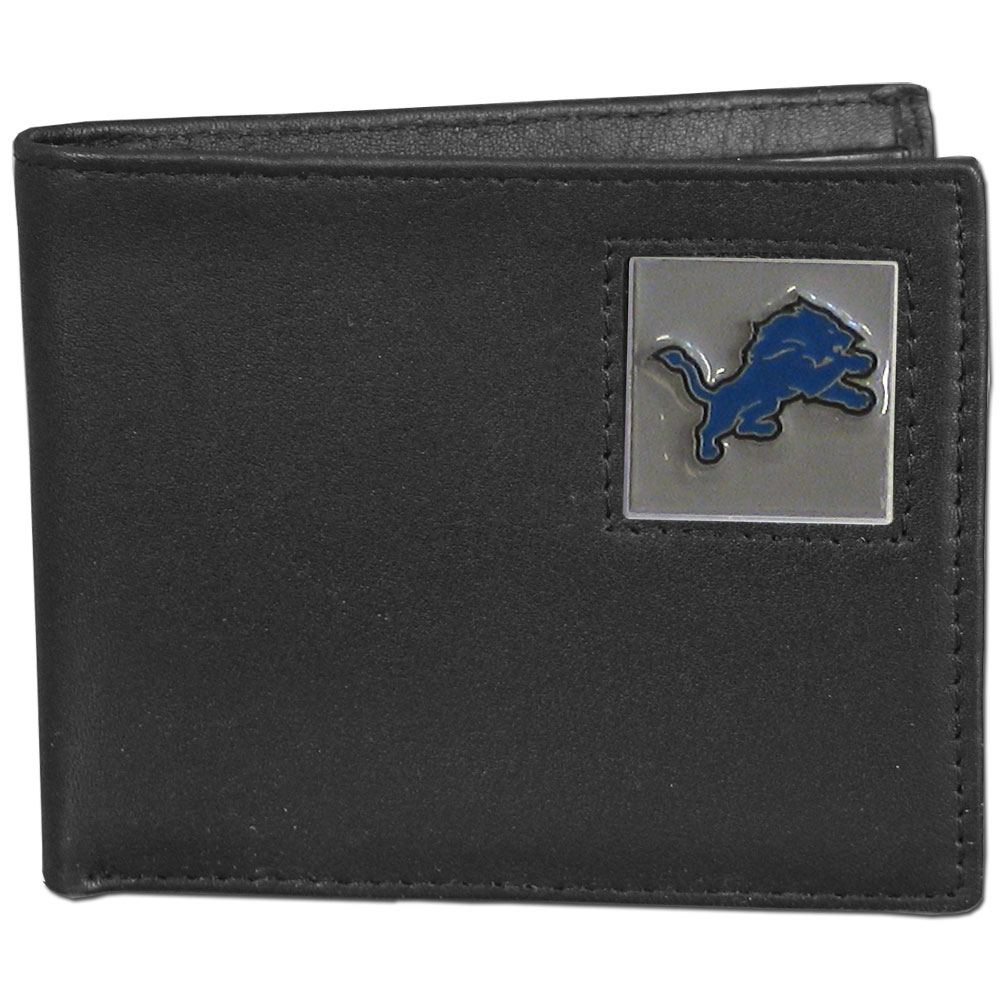 NFL Bifold Wallet in a Window Box - Detroit Lions - Our Executive Bifolds are made of high quality fine grain leather with a sculpted NFL team emblem. Packaged in a  window box. Check out our entire line of  NFL merchandise! Officially licensed NFL product Licensee: Siskiyou Buckle .com