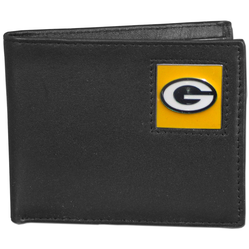 NFL Bifold Wallet in a Window Box - Green Bay Packers - Our Executive Bifolds are made of high quality fine grain leather with a sculpted NFL team emblem. Packaged in a  window box. Check out our entire line of  NFL merchandise! Officially licensed NFL product Licensee: Siskiyou Buckle .com