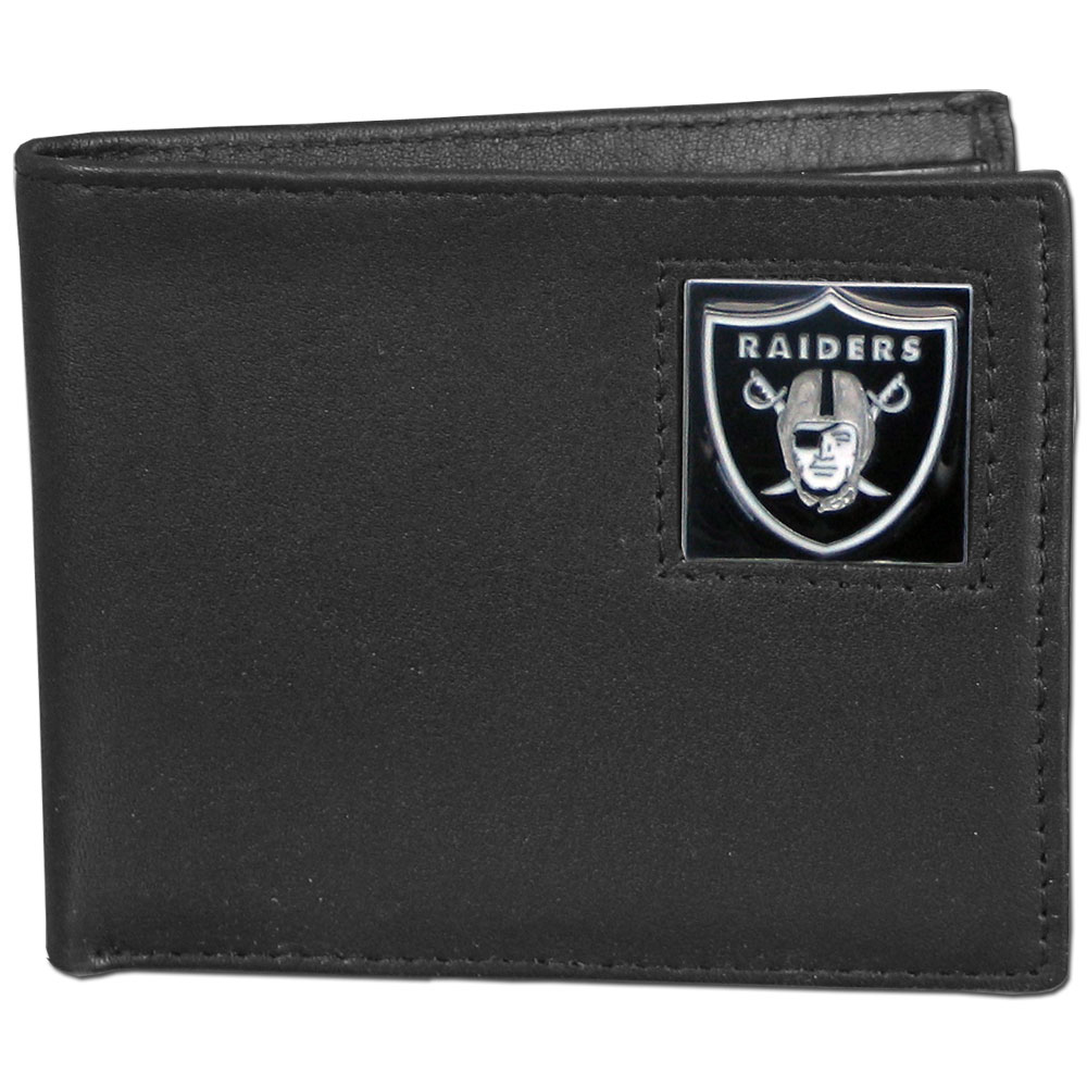 NFL Bifold Wallet in a Window Box -  Oakland Raiders - Our Executive Bifolds are made of high quality fine grain leather with a sculpted NFL team emblem. Packaged in a  window box. Check out our entire line of  NFL merchandise! Officially licensed NFL product Licensee: Siskiyou Buckle Thank you for visiting CrazedOutSports.com
