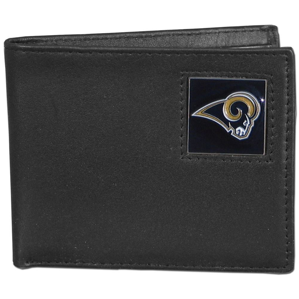 NFL Bifold Wallet in a Window Box - St. Louis Rams - Our Executive Bifolds are made of high quality fine grain leather with a sculpted NFL team emblem. Packaged in a  window box. Check out our entire line of  NFL merchandise! Officially licensed NFL product Licensee: Siskiyou Buckle .com