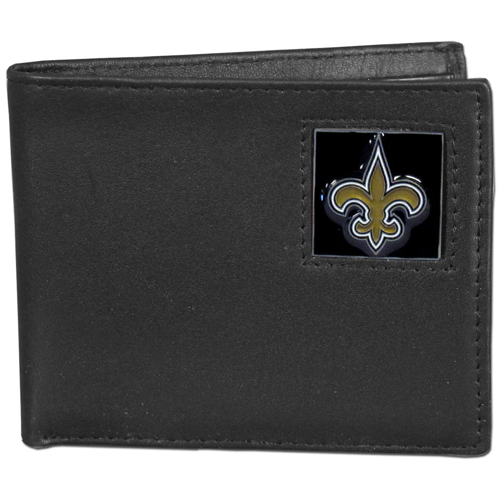NFL Bifold Wallet in a Window Box - New Orleans Saints - Our Executive Bifolds are made of high quality fine grain leather with a sculpted NFL team emblem. Packaged in a  window box. Check out our entire line of  NFL merchandise! Officially licensed NFL product Licensee: Siskiyou Buckle .com