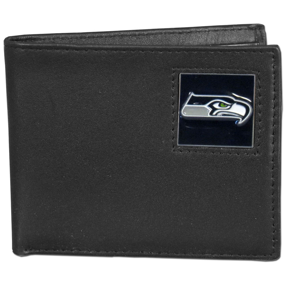NFL Bifold Wallet in a Window Box - Seattle Seahawks - Our Executive Bifolds are made of high quality fine grain leather with a sculpted NFL team emblem. Packaged in a  window box. Check out our entire line of  NFL merchandise! Officially licensed NFL product Licensee: Siskiyou Buckle .com