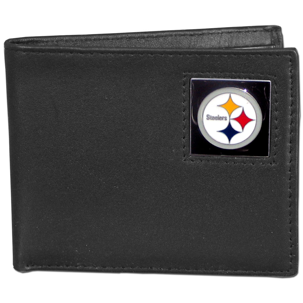 NFL Bifold Wallet in a Window Box - Pittsburgh Steelers - Our Executive Bifolds are made of high quality fine grain leather with a sculpted NFL team emblem. Packaged in a  window box. Check out our entire line of  NFL merchandise! Officially licensed NFL product Licensee: Siskiyou Buckle .com