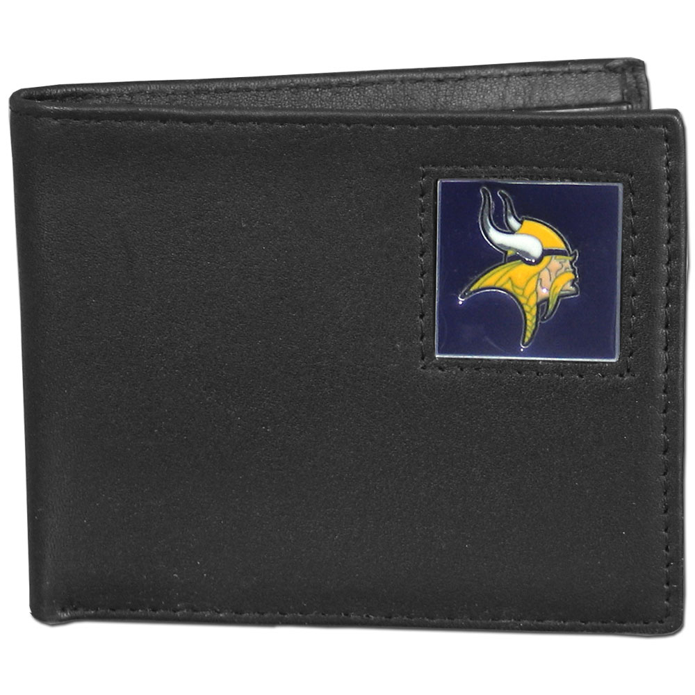 NFL Bifold Wallet in a Window Box - Minnesota Vikings - Our Executive Bifolds are made of high quality fine grain leather with a sculpted NFL team emblem. Packaged in a  window box. Check out our entire line of  NFL merchandise! Officially licensed NFL product Licensee: Siskiyou Buckle .com
