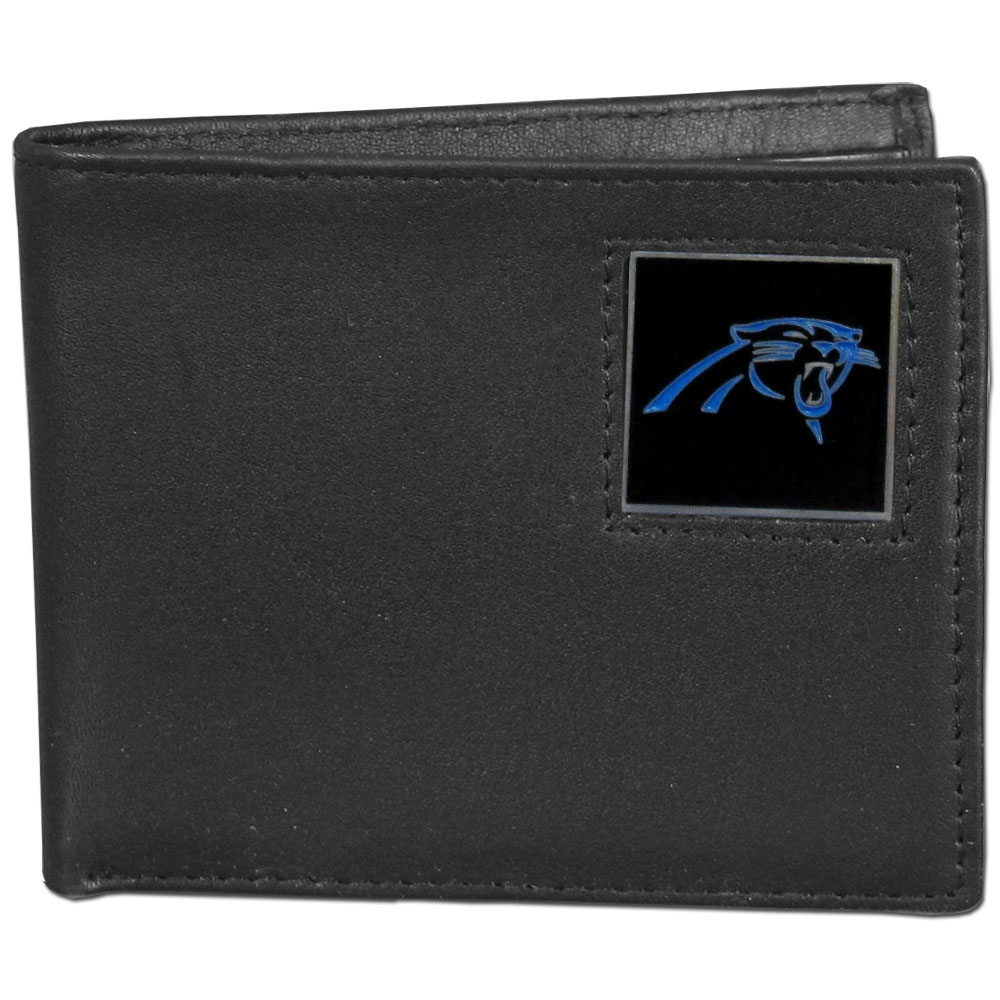 NFL Bifold Wallet - Carolina Panthers - Our Executive Bifolds are made of high quality fine grain leather with a sculpted NFL team emblem. Check out our entire line of  NFL merchandise! Officially licensed NFL product Licensee: Siskiyou Buckle .com