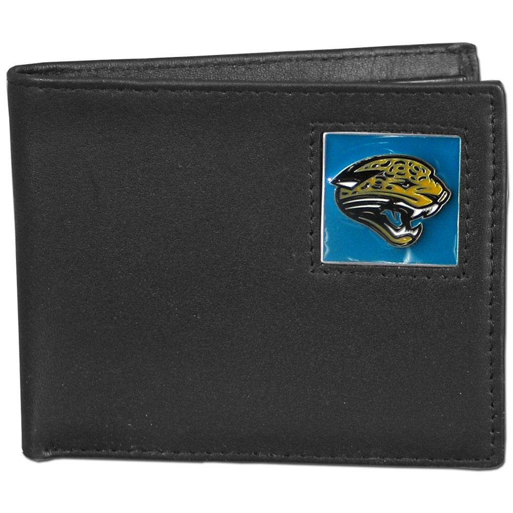 Jacksonville Jaguars NFL Bifold Wallet in a Window Box - Our Executive Bifolds are made of high quality fine grain leather with a sculpted NFL team emblem. Packaged in a  window box. Check out our entire line of  NFL merchandise! Officially licensed NFL product Licensee: Siskiyou Buckle Thank you for visiting CrazedOutSports.com