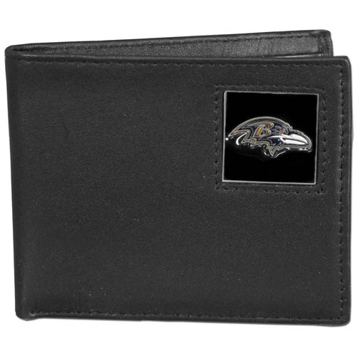 NFL Bifold Wallet in a Window Box - Baltimore Ravens - Our Executive Bifolds are made of high quality fine grain leather with a sculpted NFL team emblem. Packaged in a  window box. Check out our entire line of  NFL merchandise! Officially licensed NFL product Licensee: Siskiyou Buckle Thank you for visiting CrazedOutSports.com