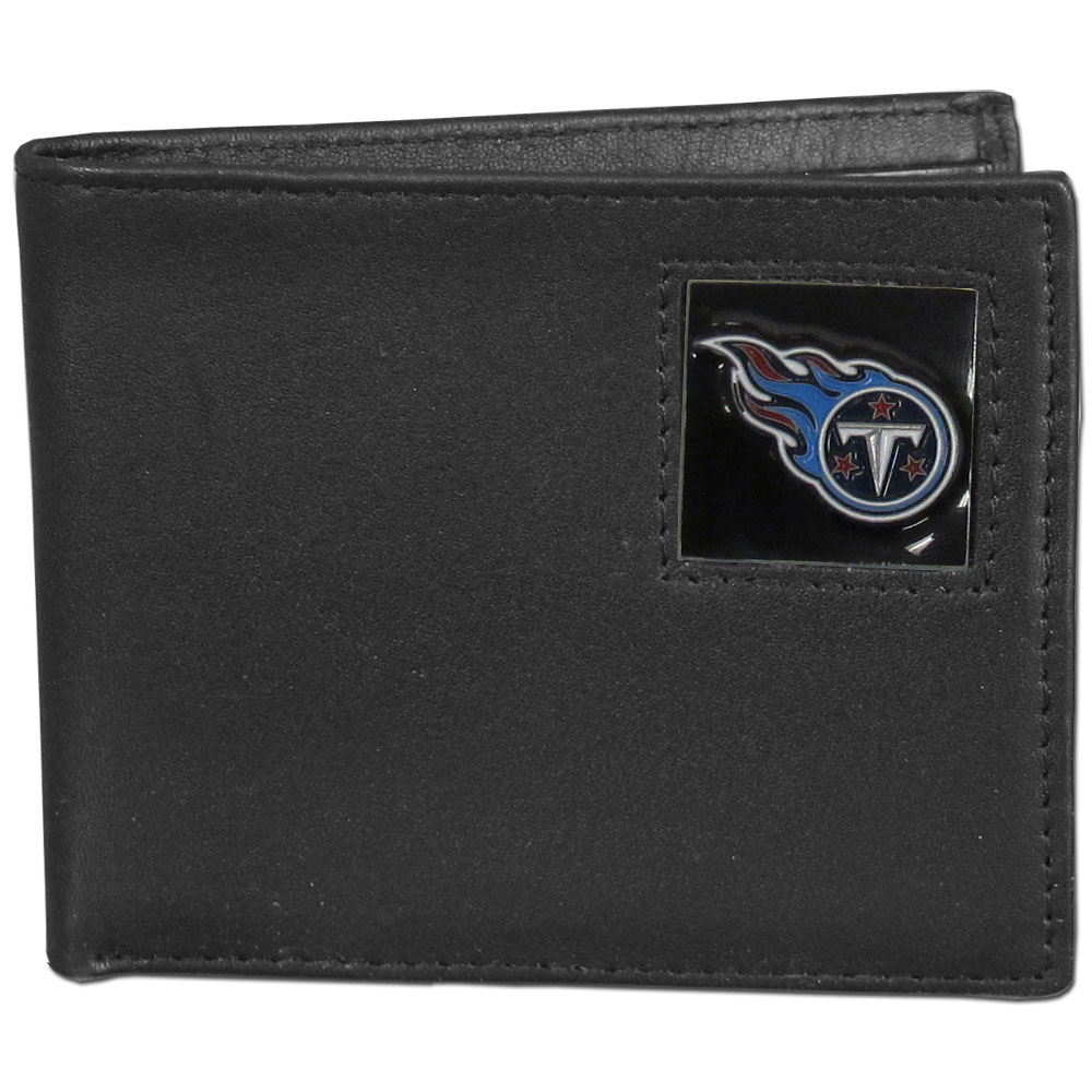 NFL Bifold Wallet in a Window Box - Tennessee Titans - Our Executive Bifolds are made of high quality fine grain leather with a sculpted NFL team emblem. Packaged in a  window box. Check out our entire line of  NFL merchandise! Officially licensed NFL product Licensee: Siskiyou Buckle .com