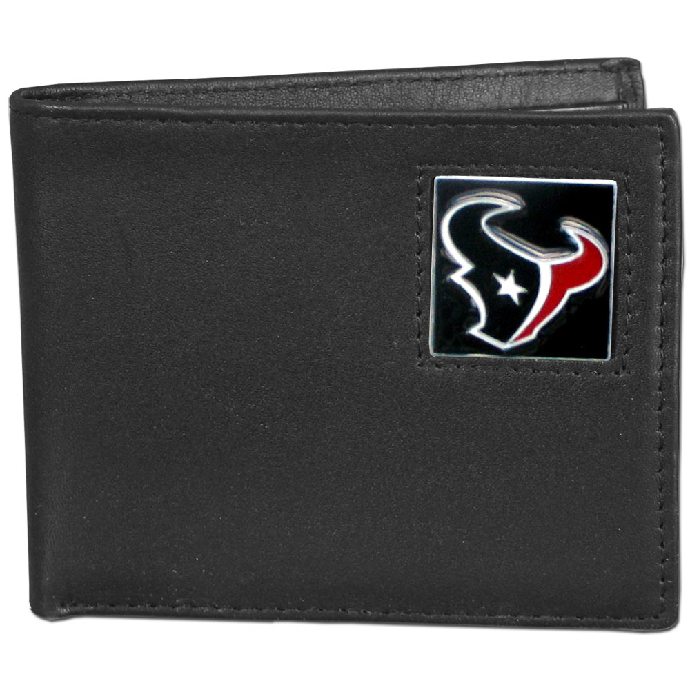 NFL Bifold Wallet -  Houston Texans - Our Executive Bifolds are made of high quality fine grain leather with a sculpted NFL team emblem. Check out our entire line of  NFL merchandise! Officially licensed NFL product Licensee: Siskiyou Buckle .com