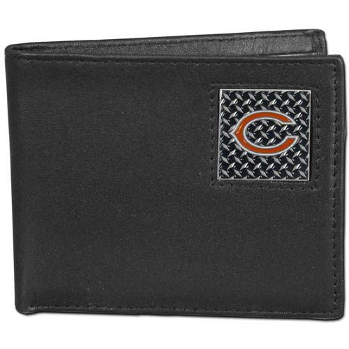 Chicago Bears Gridiron Leather Bi-fold Wallet - Officially licensed NFL Chicago Bears fine grain leather bi-fold Chicago Bears wallet features numerous card slots, large billfold pocket and flip up window ID slot. This quality Chicago Bears wallet has a gridiron style enameled Chicago Bears emblem on the front. Officially licensed NFL product Licensee: Siskiyou Buckle .com