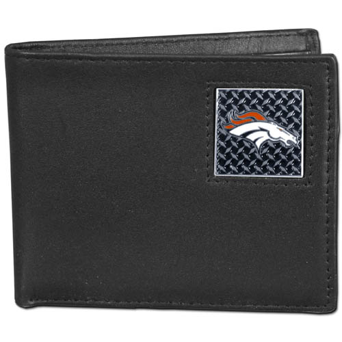 Denver Broncos Gridiron Leather Bi-fold Wallet - Officially licensed NFL Denver Broncos fine grain leather bi-fold wallet features numerous card slots, large billfold pocket and flip up window ID slot. This quality Denver Broncos wallet has a gridiron style enameled Denver Broncos emblem on the front. Packaged in an NFL windowed box. Officially licensed NFL product Licensee: Siskiyou Buckle .com