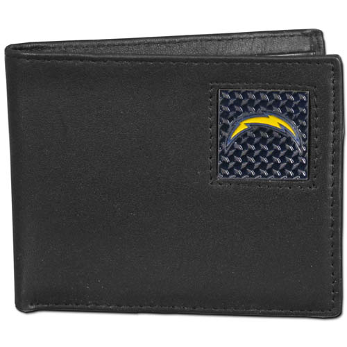 San Diego Chargers Gridiron Leather Bi-fold Wallet - Officially licensed NFL San Diego Chargers fine grain leather bi-fold wallet features numerous card slots, large billfold pocket and flip up window ID slot. This quality San Diego Chargers wallet has a gridiron style enameled San Diego Chargers emblem on the front. Officially licensed NFL product Licensee: Siskiyou Buckle .com
