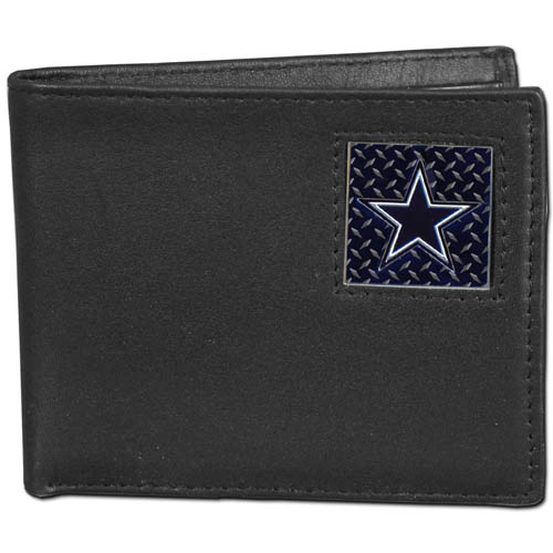 Dallas Cowboys Gridiron Leather Bi-fold Wallet - Officially licensed NFL Dallas Cowboys fine grain leather bi-fold Dallas Cowboys wallet features numerous card slots, large billfold pocket and flip up window ID slot. This quality Dallas Cowboys wallet has a gridiron style enameled Dallas Cowboys emblem on the front. Packaged in an NFL windowed box that can easily be placed on a shelf or hung by a peg. Officially licensed NFL product Licensee: Siskiyou Buckle Thank you for visiting CrazedOutSports.com