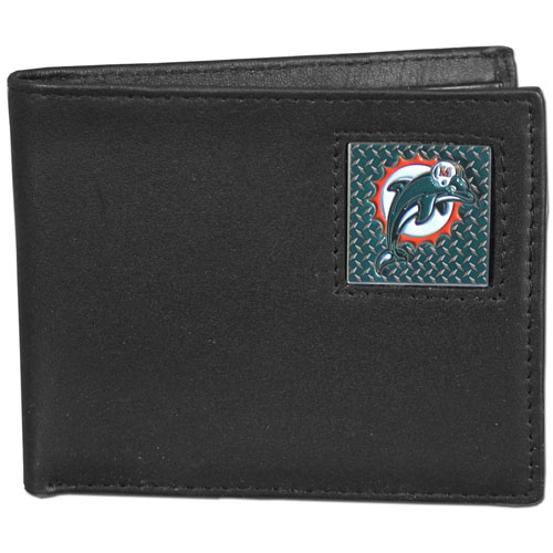 Miami Dolphins Gridiron Leather Bi-fold Wallet - Officially licensed NFL Miami Dolphins fine grain leather bi-fold Miami Dolphins wallet features numerous card slots, large billfold pocket and flip up window ID slot. This quality Miami Dolphins wallet has a gridiron style enameled Miami Dolphins emblem on the front. Officially licensed NFL product Licensee: Siskiyou Buckle .com