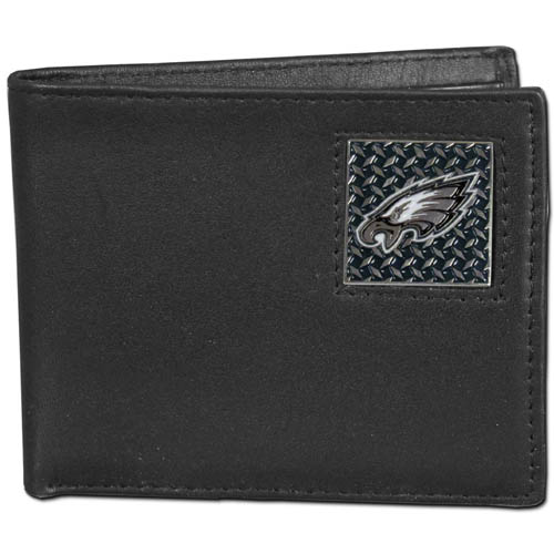Philadelphia Eagles Gridiron Leather Bi-fold Wallet - Officially licensed NFL Philadelphia Eagles fine grain leather bi-fold Philadelphia Eagles wallet features numerous card slots, large billfold pocket and flip up window ID slot. This quality Philadelphia Eagles wallet has a gridiron style enameled Philadelphia Eagles emblem on the front. Packaged in an NFL windowed box. Officially licensed NFL product Licensee: Siskiyou Buckle .com