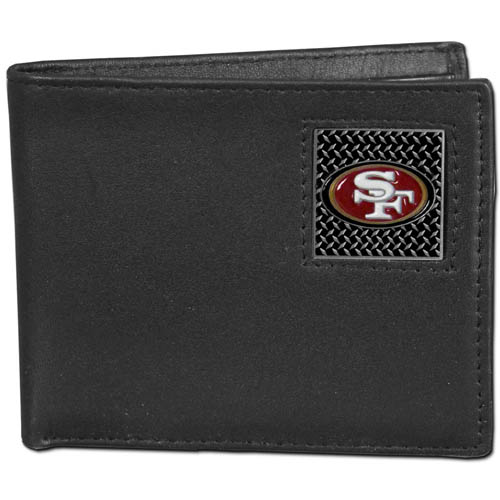 San Francisco 49ers Gridiron Leather Bi-fold Wallet - Officially licensed NFL San Francisco 49ers fine grain leather bi-fold San Francisco 49ers wallet features numerous card slots, large billfold pocket and flip up window ID slot. This quality San Francisco 49ers wallet has a gridiron style enameled San Francisco 49ers emblem on the front. Packaged in an NFL windowed box. Officially licensed NFL product Licensee: Siskiyou Buckle .com