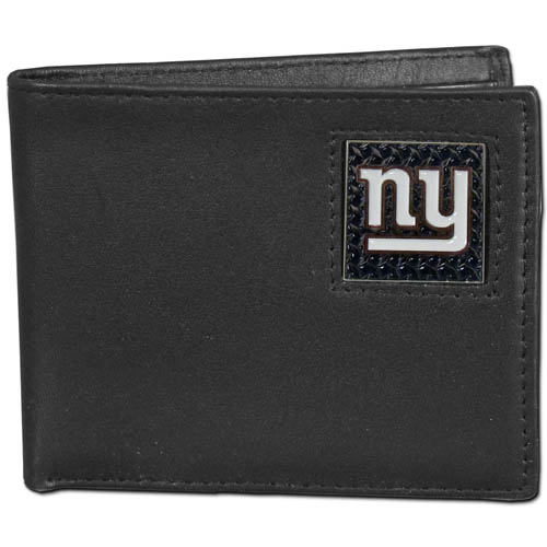New York Giants Gridiron Leather Bi-fold Wallet - Officially licensed NFL New York Giants fine grain leather bi-fold New York Giants wallet features numerous card slots, large billfold pocket and flip up window ID slot. This quality New York Giants wallet has a gridiron style enameled New York Giants emblem on the front. Officially licensed NFL product Licensee: Siskiyou Buckle .com