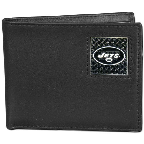 New York Jets Gridiron Leather Bi-fold Wallet - Officially licensed NFL New York Jets fine grain leather bi-fold New York Jets wallet features numerous card slots, large billfold pocket and flip up window ID slot. This quality New York Jets wallet has a gridiron style enameled New York Jets emblem on the front. Packaged in an NFL windowed box. Officially licensed NFL product Licensee: Siskiyou Buckle Thank you for visiting CrazedOutSports.com