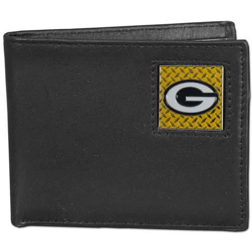 Green Bay Packers Gridiron Leather Bi-fold Wallet - Officially licensed NFL Green Bay Packers fine grain leather bi-fold Green Bay Packers wallet features numerous card slots, large billfold pocket and flip up window ID slot. This quality Green Bay Packers wallet has a gridiron style enameled Green Bay Packers emblem on the front. Packaged in an NFL windowed box. Officially licensed NFL product Licensee: Siskiyou Buckle .com