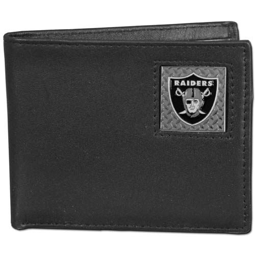 Oakland Raiders Gridiron Leather Bi-fold Wallet - Officially licensed NFL Oakland Raiders fine grain leather bi-fold Oakland Raiders wallet features numerous card slots, large billfold pocket and flip up window ID slot. This quality Oakland Raiders wallet has a gridiron style enameled Oakland Raiders emblem on the front. Officially licensed NFL product Licensee: Siskiyou Buckle .com