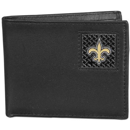 New Orleans Saints Gridiron Leather Bi-fold Wallet - Officially licensed NFL New Orleans Saints fine grain leather bi-fold New Orleans Saints wallet features numerous card slots, large billfold pocket and flip up window ID slot. This quality New Orleans Saints wallet has a gridiron style enameled New Orleans Saints emblem on the front. Packaged in an NFL windowed box. Officially licensed NFL product Licensee: Siskiyou Buckle .com