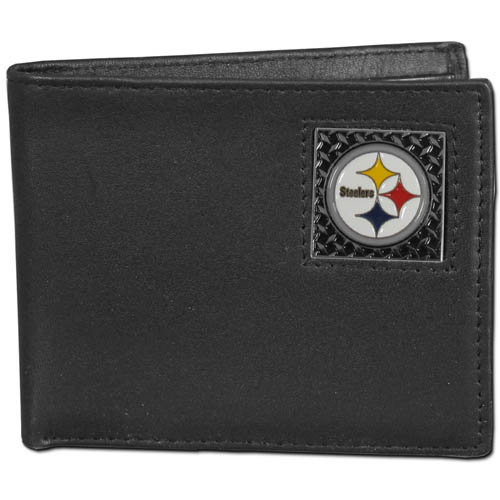 Pittsburgh Steelers Gridiron Leather Bi-fold Wallet - Officially licensed NFL Pittsburgh Steelers fine grain leather bi-fold Pittsburgh Steelers wallet features numerous card slots, large billfold pocket and flip up window ID slot. This quality Pittsburgh Steelers wallet has a gridiron style enameled Pittsburgh Steelers emblem on the front. Packaged in a window box. Officially licensed NFL product Licensee: Siskiyou Buckle .com
