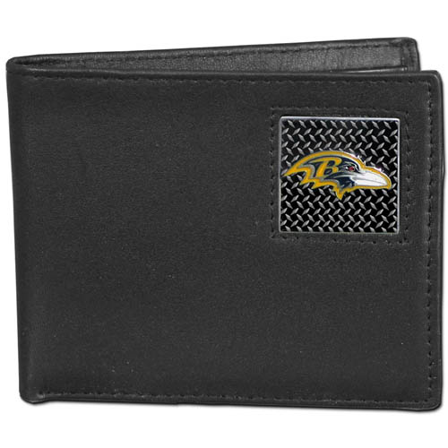 Baltimore Ravens Gridiron Leather Bi-fold Wallet - Officially licensed NFL Baltimore Ravens fine grain leather bi-fold Baltimore Ravens wallet features numerous card slots, large billfold pocket and flip up window ID slot. This quality Baltimore Ravens wallet has a gridiron style enameled Baltimore Ravens emblem on the front. Officially licensed NFL product Licensee: Siskiyou Buckle .com