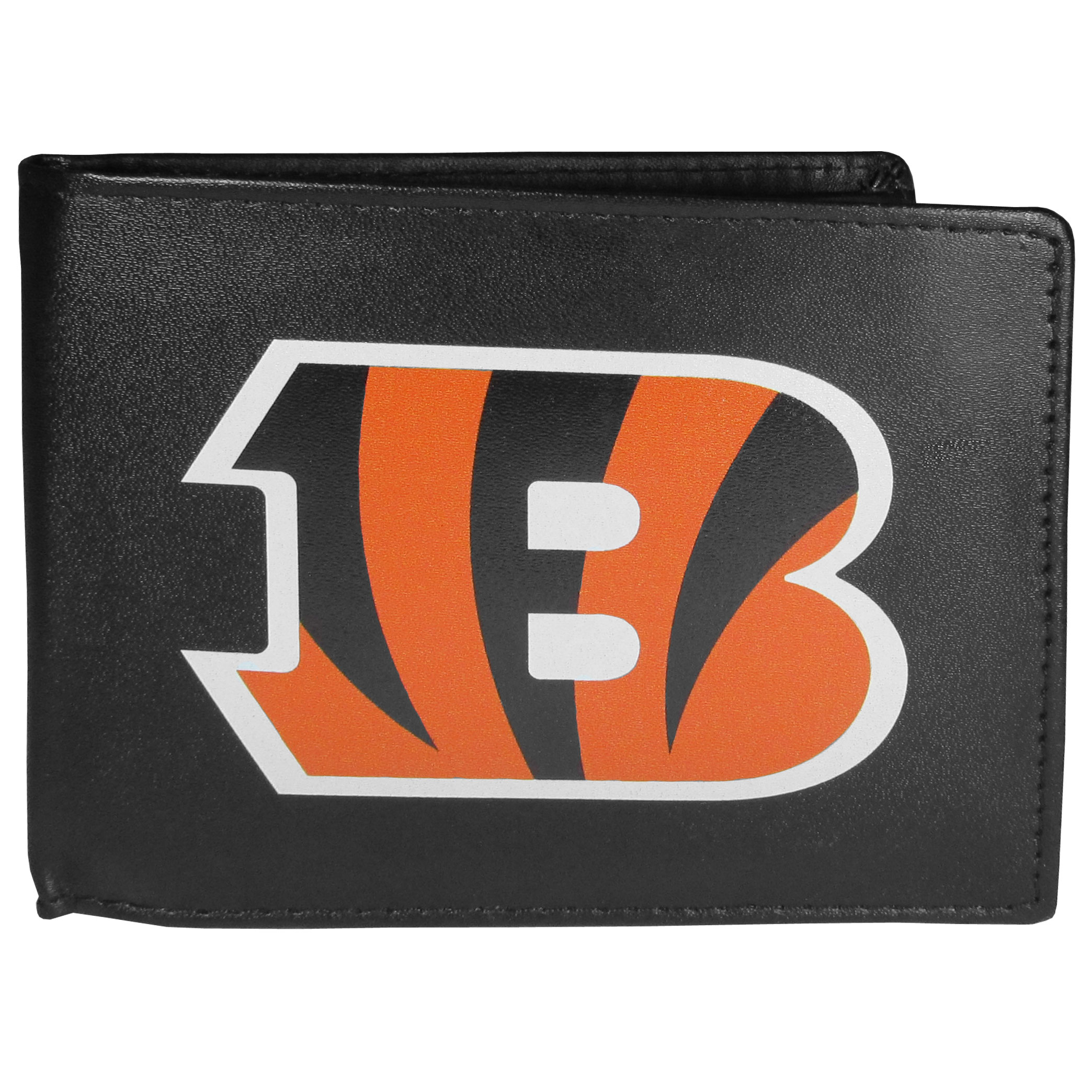 Cincinnati Bengals Bi-fold Wallet Large Logo - Sports fans do not have to sacrifice style with this classic bi-fold wallet that sports the Cincinnati Bengals extra large logo. This men's fashion accessory has a leather grain look and expert craftmanship for a quality wallet at a great price. The wallet features inner credit card slots, windowed ID slot and a large billfold pocket. The front of the wallet features a printed team logo.