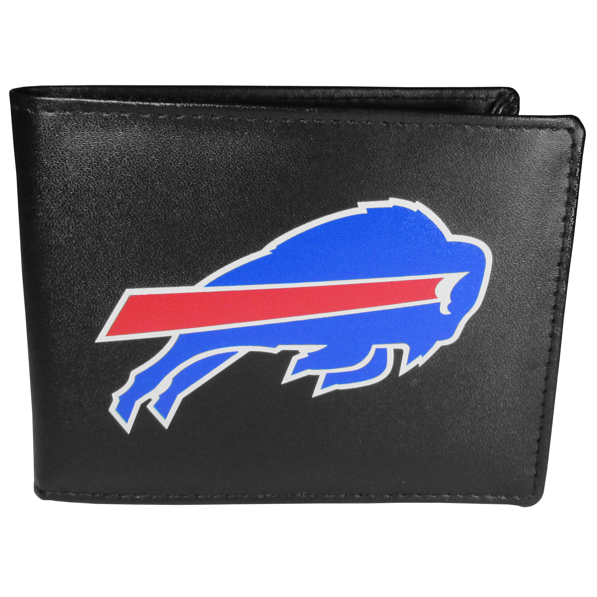 Buffalo Bills Bi-fold Wallet Large Logo - Sports fans do not have to sacrifice style with this classic bi-fold wallet that sports the Buffalo Bills extra large logo. This men's fashion accessory has a leather grain look and expert craftmanship for a quality wallet at a great price. The wallet features inner credit card slots, windowed ID slot and a large billfold pocket. The front of the wallet features a printed team logo.