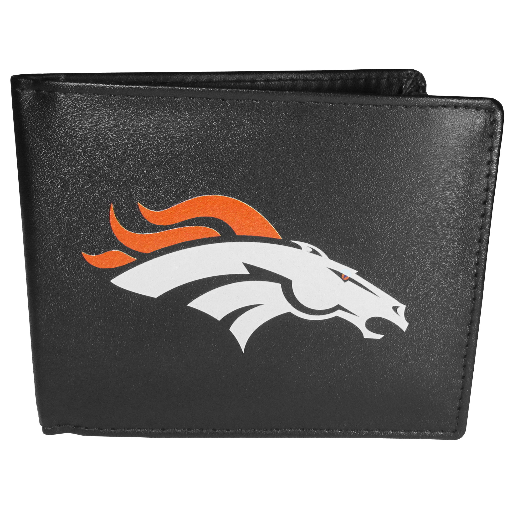 Denver Broncos Bi-fold Wallet Large Logo - Sports fans do not have to sacrifice style with this classic bi-fold wallet that sports the Denver Broncos extra large logo. This men's fashion accessory has a leather grain look and expert craftmanship for a quality wallet at a great price. The wallet features inner credit card slots, windowed ID slot and a large billfold pocket. The front of the wallet features a printed team logo.