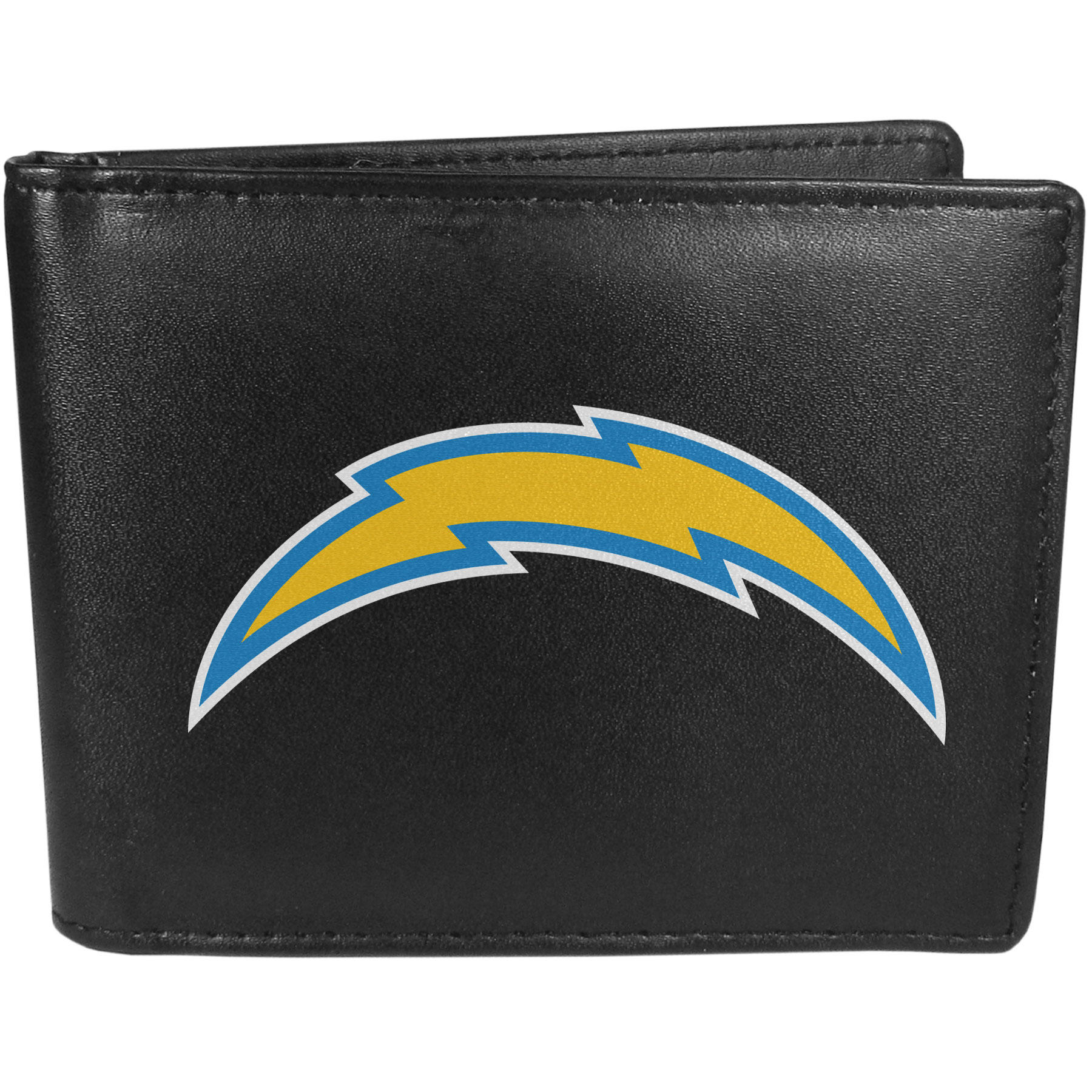 Los Angeles Chargers Bi-fold Wallet Large Logo - Sports fans do not have to sacrifice style with this classic bi-fold wallet that sports the Los Angeles Chargers extra large logo. This men's fashion accessory has a leather grain look and expert craftmanship for a quality wallet at a great price. The wallet features inner credit card slots, windowed ID slot and a large billfold pocket. The front of the wallet features a printed team logo.