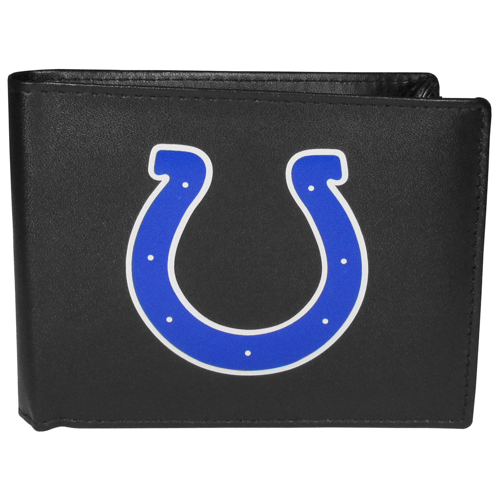 Indianapolis Colts Bi-fold Wallet Large Logo - Sports fans do not have to sacrifice style with this classic bi-fold wallet that sports the Indianapolis Colts extra large logo. This men's fashion accessory has a leather grain look and expert craftmanship for a quality wallet at a great price. The wallet features inner credit card slots, windowed ID slot and a large billfold pocket. The front of the wallet features a printed team logo.
