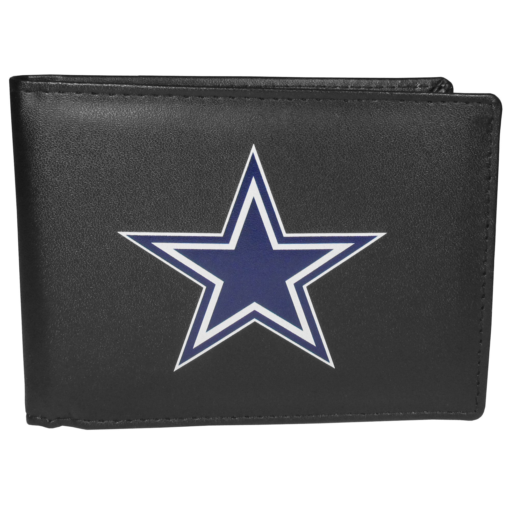Dallas Cowboys Bi-fold Wallet Large Logo - Sports fans do not have to sacrifice style with this classic bi-fold wallet that sports the Dallas Cowboys extra large logo. This men's fashion accessory has a leather grain look and expert craftmanship for a quality wallet at a great price. The wallet features inner credit card slots, windowed ID slot and a large billfold pocket. The front of the wallet features a printed team logo.