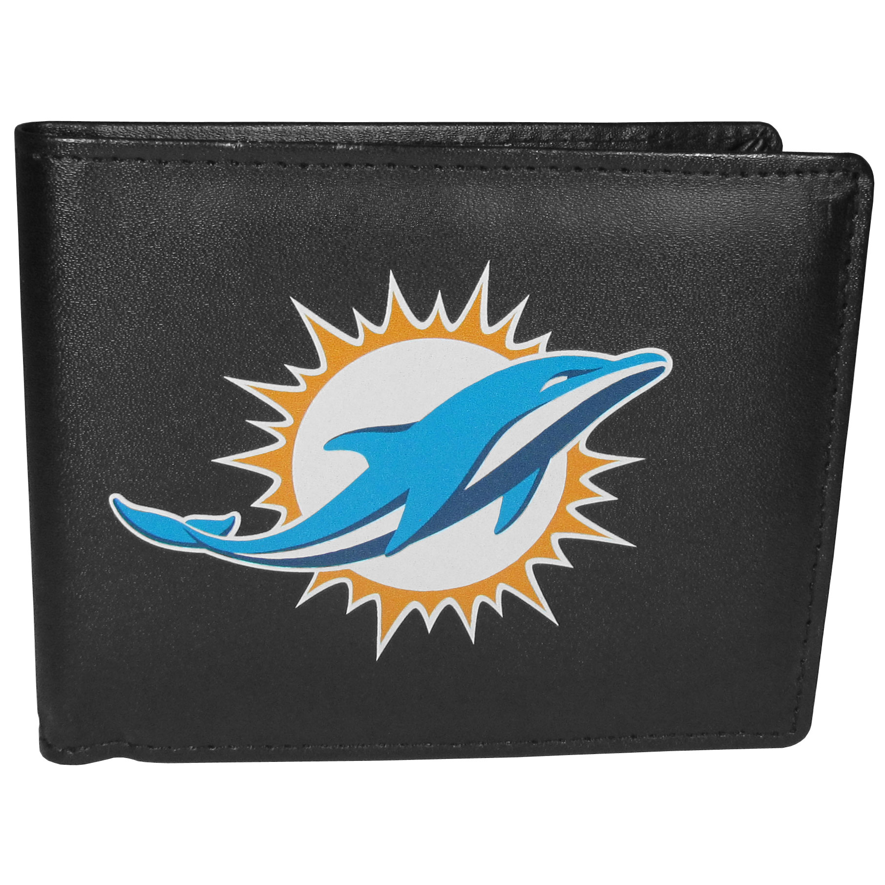 Miami Dolphins Bi-fold Wallet Large Logo - Sports fans do not have to sacrifice style with this classic bi-fold wallet that sports the Miami Dolphins?extra large logo. This men's fashion accessory has a leather grain look and expert craftmanship for a quality wallet at a great price. The wallet features inner credit card slots, windowed ID slot and a large billfold pocket. The front of the wallet features a printed team logo.