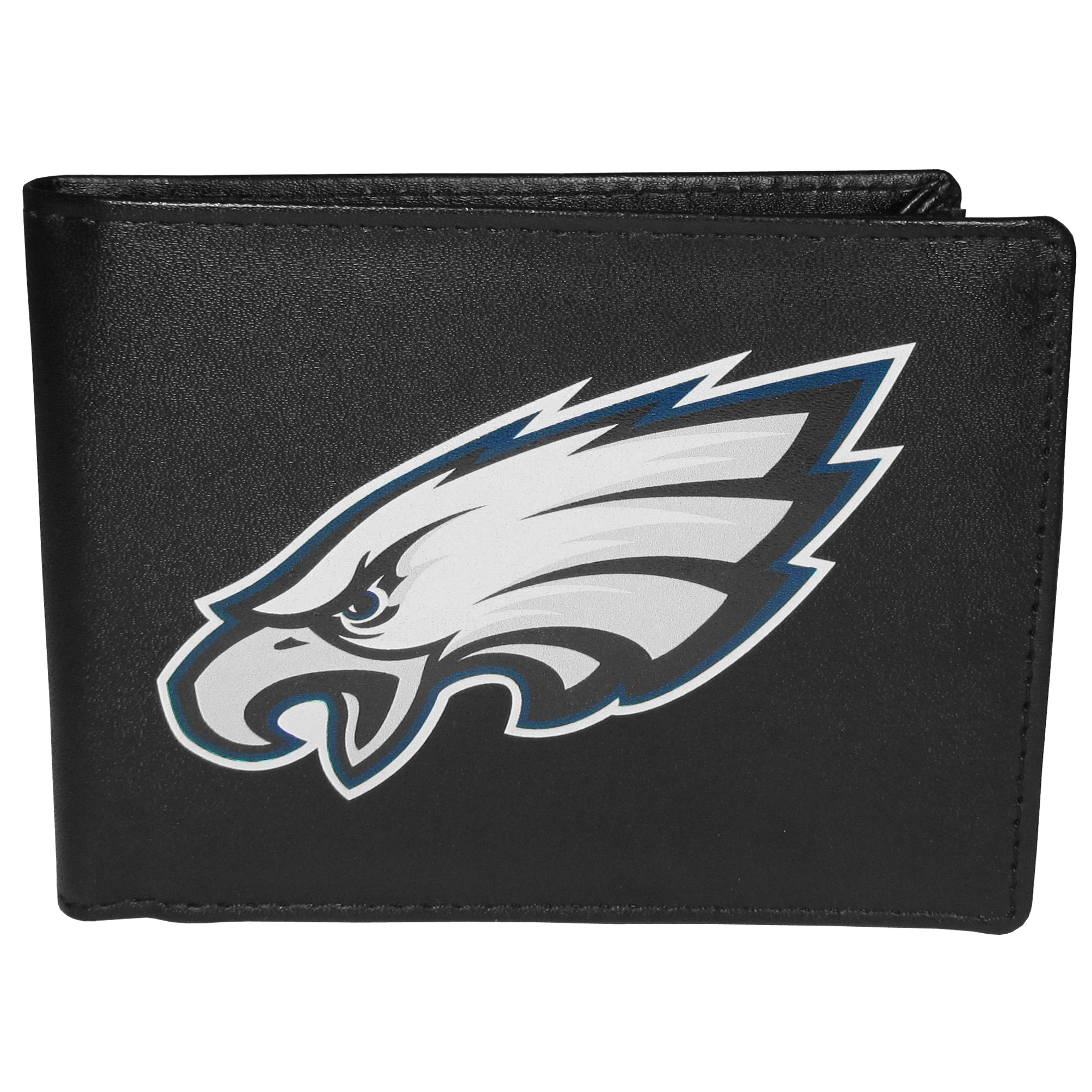 Philadelphia Eagles Bi-fold Wallet Large Logo - Sports fans do not have to sacrifice style with this classic bi-fold wallet that sports the Philadelphia Eagles extra large logo. This men's fashion accessory has a leather grain look and expert craftmanship for a quality wallet at a great price. The wallet features inner credit card slots, windowed ID slot and a large billfold pocket. The front of the wallet features a printed team logo.