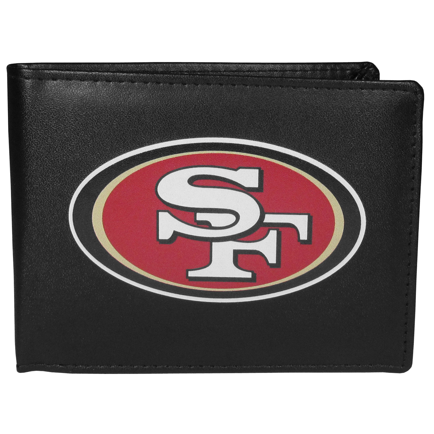 San Francisco 49ers Bi-fold Wallet Large Logo - Sports fans do not have to sacrifice style with this classic bi-fold wallet that sports the San Francisco 49ers extra large logo. This men's fashion accessory has a leather grain look and expert craftmanship for a quality wallet at a great price. The wallet features inner credit card slots, windowed ID slot and a large billfold pocket. The front of the wallet features a printed team logo.